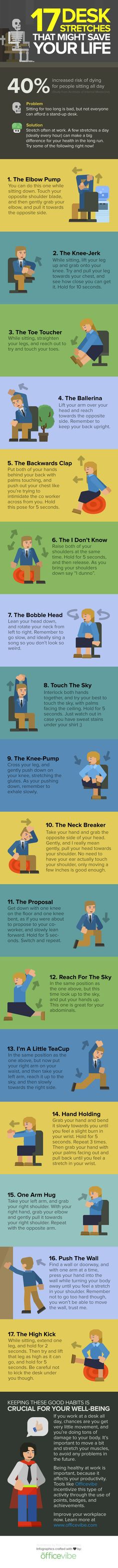 17 Desk Stretches That Might Save Your Life #infographic #Health #EmployeeBenefits