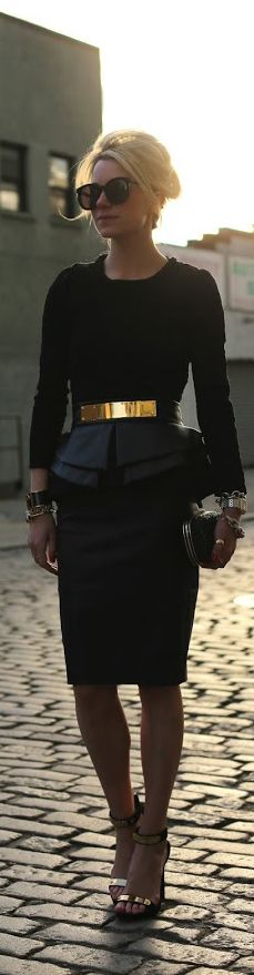 Peplum with the gold sued belt really gives the woman shape! Cutting it on her waist makes it look 3x as smaller as well as the black doing the same!