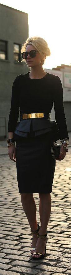 Black, gold & leather