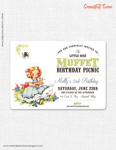 baby invite is adorable ~ Little Miss Muffet  Custom Printable by serendipitycreative, $15.00