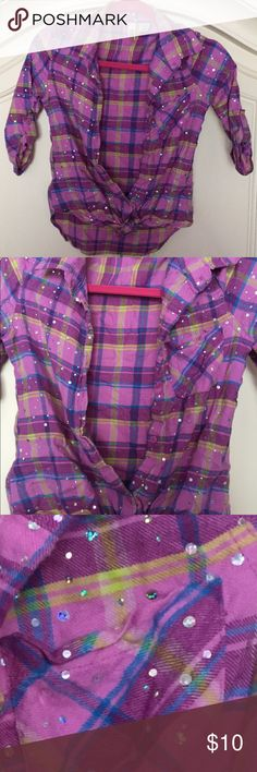 Embellished bling PLAID button up top Gently used Route 66 Shirts & Tops Button Down Shirts