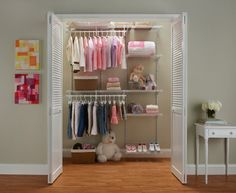 Install the adjustable and durable ShelfTrack from ClosetMaid in your baby's room now and it will last for 18 years of changes.