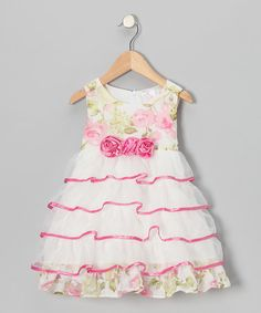 Take a look at this White & Pink Tiered Tulle Ruffle Dress - Toddler & Girls by the Silly Sissy on #zulily today!