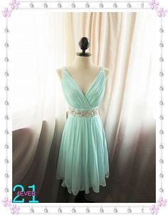 Short Mint Blue Prom Dress/Sexy Beaded Homecoming by 214EVER, $139.99