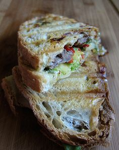 One amazing sandwich! This panini has a perfect combination of beef, avocado, spicy cheese and roasted peppers.   www.laurasleanbeef.com