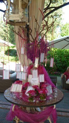 Matrimonio a tema con fiori color fucsia - Disposizione tavoli