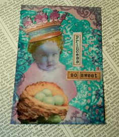 SALE ACEO ATC  One-of-a-kind Collage and Ink Princess So Sweet by PaperPastiche on Etsy