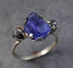 Raw Diamond Tanzanite Gemstone 14k White Gold by byAngeline