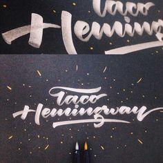 """Arkadiusz Radek on Instagram: """"Taco Hemingway. Kuretake Metallic Brush Pen on black smooth paper #whatpendidyouse"""""""