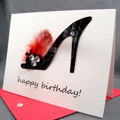 289 best shoe cards images on pinterest birthday cards for women sexy black high heel shoe birthday card for wife girlfriend for her 3 d handmade diva birthday card m4hsunfo