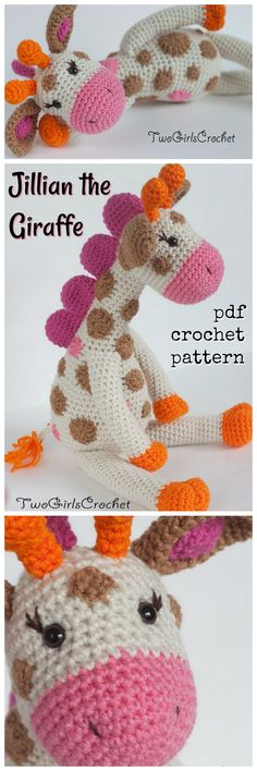 Crochet Pattern Giraffe Amigurumi stuffed toy crochet pattern. So cute. #etsy #ad #TwoGirlsCrochet