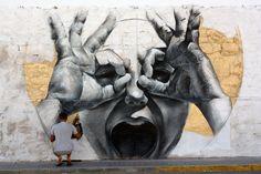 Famous mural by Spanish street artist Mesa