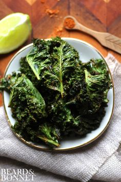 Taco Spiced Kale Chips - Try a lower-sodium Taco seasoning mix or Pleasoning Taco seasoning for those needing to reduce sodium in their diet.