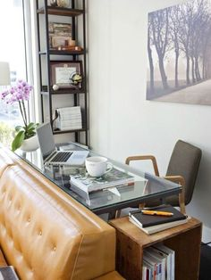Office desk with couch/bench