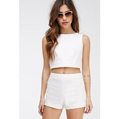 Forever 21 Women's  Flat Front Textured Shorts ($11) ❤ liked on Polyvore featuring shorts, forever 21, lightweight shorts, crop shorts, woven shorts and forever 21 shorts