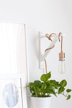 30 Small-Space Hacks You've Never Seen Before Skip The Floor Lamp Proper lighting is very important in a small apartment, but a floor lamp can be a bit of a burden. This cool DIY helps lighten up your room and leave more space free. Living Room Lighting, Bedroom Lighting, Closet Lighting, Rope Lighting, Hanging Lights Living Room, Bedside Lighting, Office Lighting, Room Lamp, Bedside Lamp