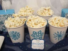 Snow flurry popcorn at a Frozen birthday party! See more party planning ideas at CatchMyParty.com!