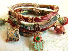 Red wine brocade wrap bracelet by ellivira on Etsy Hamsa Jewelry, Boho Jewelry, Jewelry Crafts, Jewelry Accessories, Fashion Accessories, Handmade Jewelry, Jewelry Design, Fashion Jewelry, Jewellery