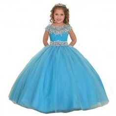 Calla Collection Big Girls Turquoise Sparkle Organza Pageant Dress 7-12