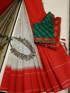 Discover thousands of images about is on & how! Kancheepuram silks come in a range of grey - from deep elephant & grey to a medium ash, smoke & pewter grey to the… Sari Blouse Designs, Saree Blouse Patterns, Designer Blouse Patterns, Saree Color Combinations, Simple Sarees, Elegant Saree, Saree Look, Fancy Sarees, Saree Dress