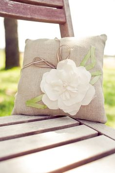 Items similar to Natural Linen Ring Pillow with White Fabric Flower, Button and Bow on Etsy Burlap Crafts, Fabric Crafts, Diy Crafts, Handmade Pillows, Decorative Pillows, Burlap Pillows, Throw Pillows, Burlap Fabric, Pillow Fabric