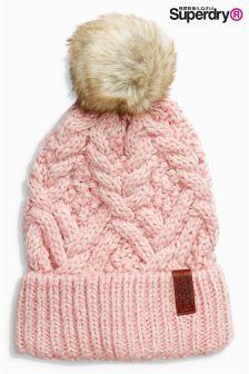 Superdry Soft Pink Nebraska Cable Knit Beanie Hat