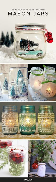 Mason jars have been popping out of canning cupboards and appearing in more unexpected places around the home for a while now. Whether you use them to create stylishly spooky decor for Halloween or ge(Diy Decorations Mason Jars) Christmas Projects, Holiday Crafts, Holiday Fun, Holiday Ideas, Winter Christmas, Christmas Holidays, Christmas Ornaments, Winter Holidays, Christmas Music