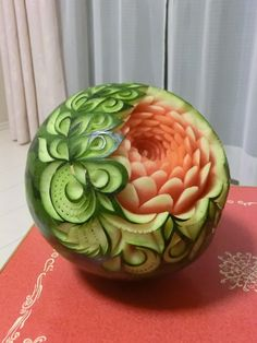 フルーツカービングfood garnish#fruit carving work# watermelon