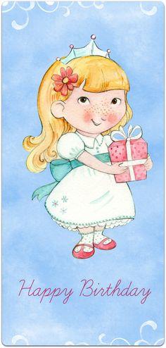 Carte double anniversaire 'La Petite Fille' 21cm x 10cm : Cartes par card-bubble