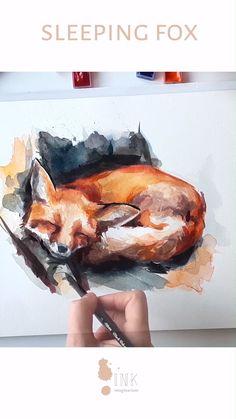 Little fox in watercolor. Watercolor Drawing, Watercolor Animals, Watercolor Art Landscape, Watercolour Paintings, Watercolor Paintings For Beginners, Watercolor Art Lessons, Fox Painting, Fox Art, Diy Canvas Art