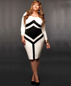 For a nod to Mod culture try this Fashion forward geometric shapes dress. Stylish and trendy plus size dress with all the right areas accentuated.