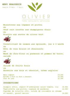 Menu Brasserie - Plats du jour - Suggestions Semaine du 30 mars au 3 avril 2015 Tél: + 352 313 666 ou contact@hotel-oli... Click link to view menu in PDF http://hotel-olivier.com/wp/wp-content/uploads/2015/03/Plats-du-jour-Suggestions-Menu-brasserie3.pdf