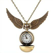 LightOnIt Vintage 1inch Pocket Watch Wings Pendant Chain Necklace Best Gift for Boys Girls