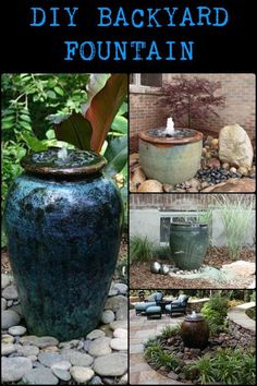 DIY Backyard Fountain This Simple Water Feature Gives a Great Effect Without a Lot of Physical Labor Diy Water Fountain, Garden Water Fountains, Outdoor Fountains, Patio Fountain, Solar Fountains, Wall Fountains, Fountain Ideas, Diy Water Feature, Backyard Water Feature