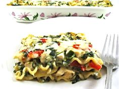 Beyond Decadent, Skinny Lasagna Alfredo...Get ready to thrill your family and friends with this out of this world casserole!  No one will ever guess it's low in calories. The skinny for 1 serving, 290 calories, 9.5 grams of fat and 7 Weight Watchers POINTS PLUS.