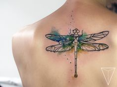 Dragonfly in geometric watercolor from MISS PANK