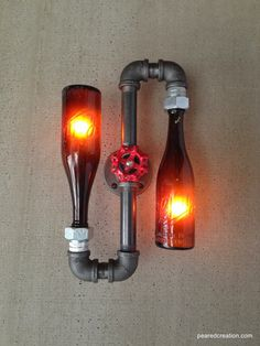 Beer Bottle Lamp - Industrial Sconce - Steampunk Lighting - Shlitz Brewery - New wine old bottles, etsy. do with bare edison bulbs in powder room? or hall? I think I could manage this as DIY project. Maybe as some manly lighting for the garage or man-cave