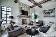veranda interiors. Beatiful casual modern family room in neutral tones.