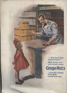 1919 ad for Grape Nuts Cereal