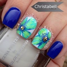Blue and Green Flower Nails
