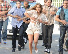 Jennifer Lopez dancing on-set for music video Papi