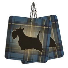 Scottie Dog on Blue Plaid Scottish Terrier Wood MDF 4' x 4' Mini Signs Gift Tags *** Click on the image for additional details.