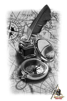 Chicanas Tattoo, Map Tattoos, Tattoo Drawings, Tiny Tattoo, Tattoo Flash, Tattoo Sketches, Old Clock Tattoo, Clock Tattoo Design, Compass Tattoo Design