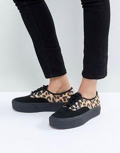 6739647cec Vans Authentic Platform Sneakers In Leopard Print Leopard Slip On Sneakers
