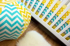 Baby Bedding, Bumperless Cribset, Yellow Aqua Gray Dot Chevron Nursery Set by modifiedtot on Etsy https://www.etsy.com/listing/168523230/baby-bedding-bumperless-cribset-yellow