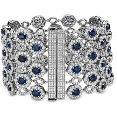 Blue Nile Oval Sapphire and Pavé Diamond Wide Bracelet in 18k White... (177.435 BRL) ❤ liked on Polyvore featuring jewelry, bracelets, accessories, pulseiras, white gold bangle, 18k white gold bangle, 18k bangle, sapphire jewelry and 18k jewelry