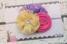 Tangled, rapunzel inspired mixed flower headband.  Newborn bow, newborn headband, baby girl headband, toddler headband