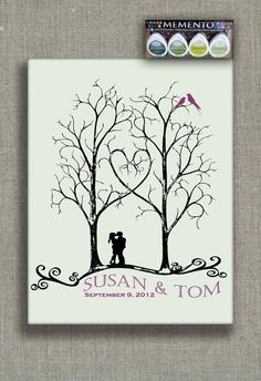 ThumbPrint Signature Wedding Tree Guest Book Alternative / Gift / Trees with Couple Silhouette and Love Birds