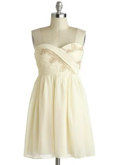 This would be beautiful with gold or light pink flats, or cowboy boots.  Vanilla Eclair Dress, #ModCloth