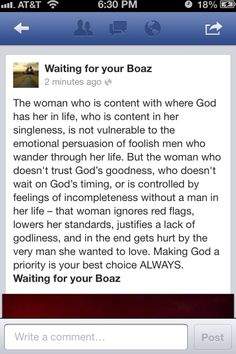 This is good!  Wait on Boaz!
